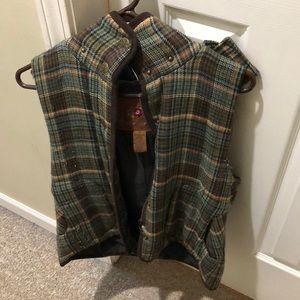 BB Dakota Plaid vest with furry hood